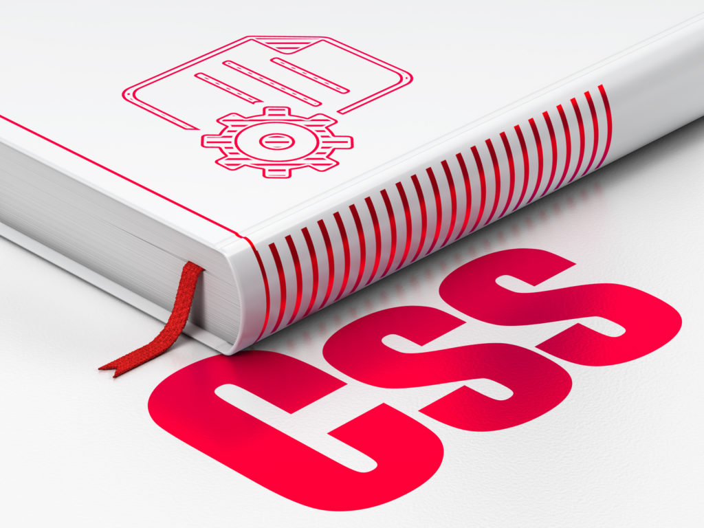 Software concept: closed book with Red Gear icon and text Css on floor, white background, 3D rendering